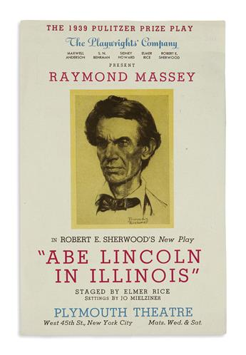 (EPHEMERA.) Group of playbills and other ephemera relating to dramatic depictions of Lincoln.