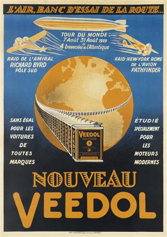 DESIGNER UNKNOWN. NOUVEAU VEEDOL. 1929. 54x38 inches, 139x97 cm. R. Guillard, Vincennes.