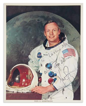 (ASTRONAUTS.) ARMSTRONG, NEIL. Two items: Photograph Signed and Inscribed * Typed Letter Signed.