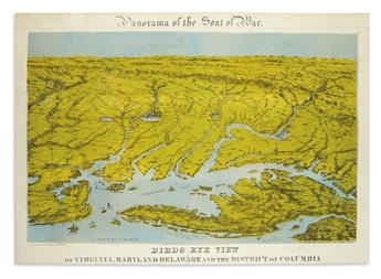BACHMANN, JOHN. Panorama of the Seat of War -- Birds Eye View of Virginia, Maryland, Delaware and the District of Columbia.