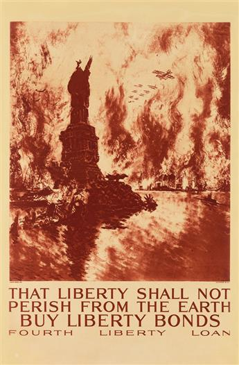 JOSEPH PENNELL (1857-1926). THAT LIBERTY SHALL NOT PERISH FROM THE EARTH. 1918. 33x22 inches, 84x56 cm. Alco-Gravure, Inc., New York.
