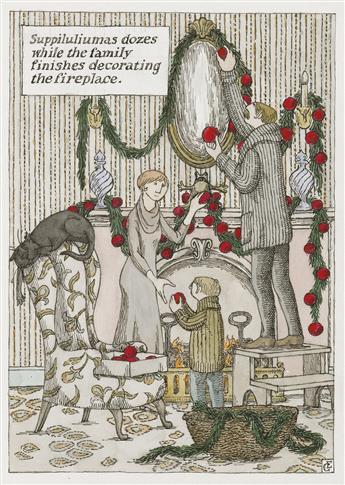 CHRISTMAS EDWARD GOREY. Suppiluliumus dozes while the family finishes decorating the fireplace.