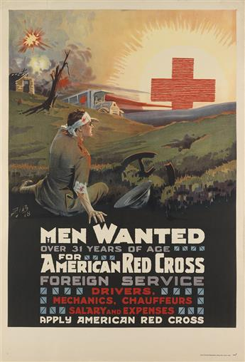 P.I.B. (MONOGRAM UNKNOWN). MEN WANTED FOR AMERICAN RED CROSS FOREIGN SERVICE. 1918. 41x28 inches, 104x71 cm. National Printing & Engrav
