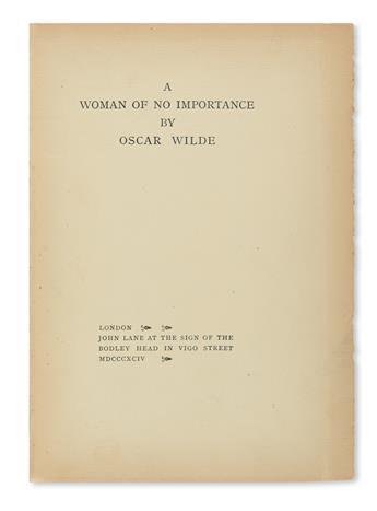 WILDE, OSCAR. A Woman of No Importance.