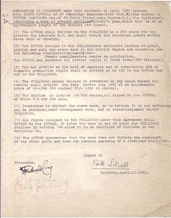 SITWELL, EDITH. Two items: Autograph Letter Signed, twice * Typed Document Signed.