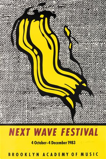 ROY LICHTENSTEIN (1923-1997). NEXT WAVE FESTIVAL / BROOKLYN ACADEMY OF MUSIC. 1983. 19x25 inches, 48x65 cm. Alan Lithographic Inc., Los