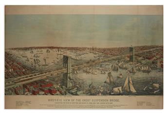 (NEW YORK CITY.) Birds-Eye View of the Great Suspension Bridge,