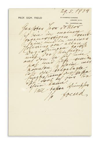 (SCIENTISTS.) FREUD, SIGMUND. Autograph Letter Signed, Freud, to Esteemed Doctor, in German,
