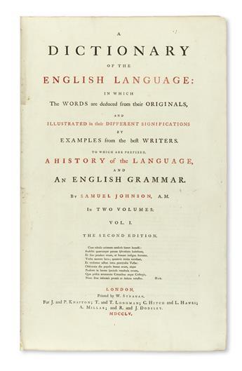 JOHNSON, SAMUEL. A Dictionary of the English Language . . . Second Edition.  2 vols.  1755-56
