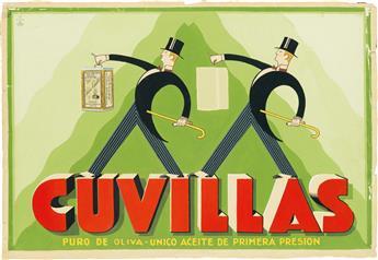 DESIGNER UNKNOWN. CUVILLAS / PURO DE OLIVA. Gouache maquette. 20x30 inches, 52x77 cm.