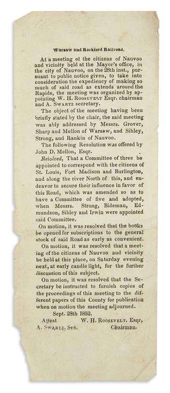 (ILLINOIS.) Minutes of the founding meeting of the Warsaw and Rockford Railroad.