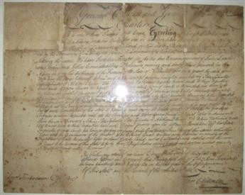 (VERMONT.) CHITTENDEN, THOMAS. Document Signed, Thos. Chittenden, as Governor,