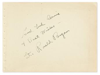 REAGAN, RONALD. Autograph Inscription Signed, on a leaf removed from an autograph album:
