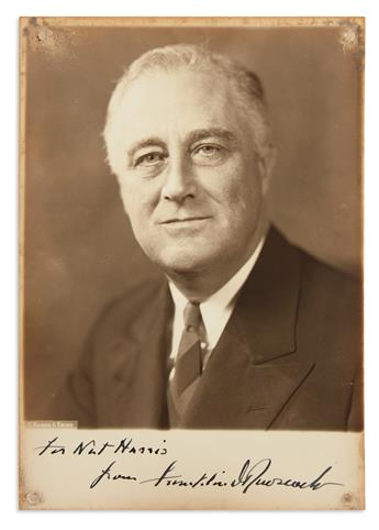ROOSEVELT, FRANKLIN D; AND ELEANOR. Two Photographs, each Signed and Inscribed by one, each photograph by Harris & Ewing.