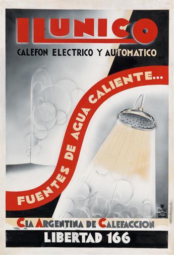 DESIGNER UNKNOWN. ILUNICO / CALEFON ELECTRICO Y AUTOMATICO. Gouache maquette. 29x19 inches, 73x48 cm.