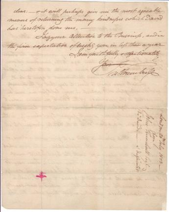 TRUMBULL, JOHN. Autograph Letter Signed, Jn:Trumbull, to his brother Jonathan Trumbull, Jr.,
