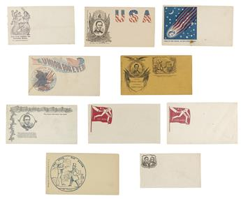 (EPHEMERA.) Group of 10 unused patriotic covers relating to Lincoln and the war.