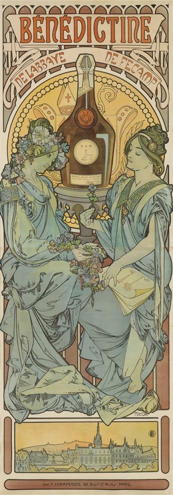 ALPHONSE MUCHA (1860-1939). BÉNÉDICTINE. 1898. 81x29 inches, 207x79 cm. F. Champenois, Paris.