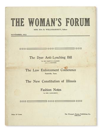 (CIVIL RIGHTS.) WELLS, IDA B. The Womans Forum, Volume I, Number 3.
