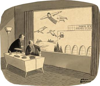 (THE NEW YORKER / CARTOON.) CHARLES ADDAMS. Looks like R. & D. is onto something big.