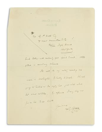 WELLS, H.G. Autograph Letter Signed, to Dear Mr. Hackett,