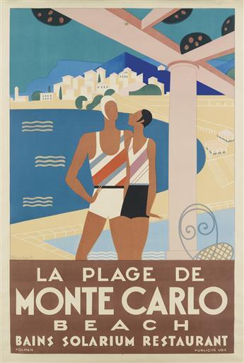 MICHEL BOUCHAUD (DATES UNKNOWN). LA PLAGE DE MONTE CARLO. 1929. 46x31 inches, 117x79 cm. Publicité Vox, Paris.