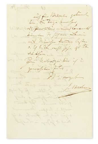 BRAHMS, JOHANNES. Autograph Letter Signed, JBrahms, to an unnamed recipient (Esteemed Sir), in German,