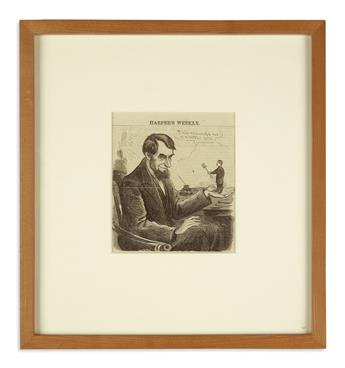 (EPHEMERA.) Large group of Lincoln-related engravings and cartoons clipped from period newspapers.