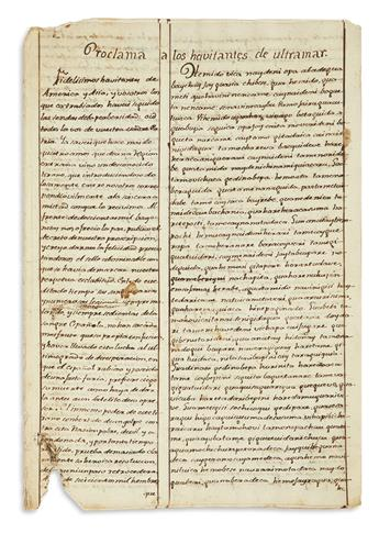 (MEXICAN MANUSCRIPTS.) A tract denouncing Napoleon and independence, translated into the rarely written Ópata language.