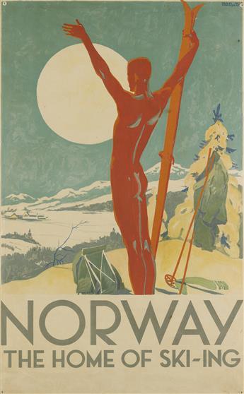 TRYGVE M. DAVIDSEN (1895-1978). NORWAY / THE HOME OF SKI - ING. Circa 1926. 38x23 inches, 97x60 cm. [Hagen & Kornmann, Oslo.]