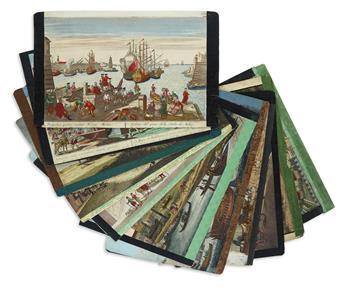 (VUES d'OPTIQUE.) Group of 19 hand-colored die-cut engraved vues.