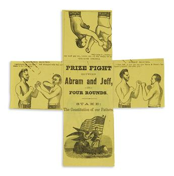 (PRINTS--CARTOONS.) Prize Fight Between Abram and Jeff, in Four Rounds. Stake: The Constitution of our Country.