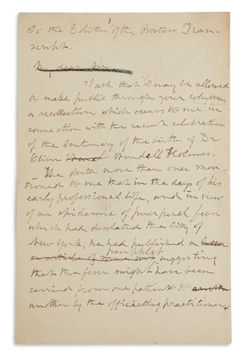 LETTER TO THE EDITOR RECOMMENDING MONUMENT TO OLIVER WENDELL HOLMES (SUFFRAGISTS.) JULIA WARD HOWE. Autograph...