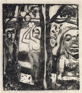 PAUL GAUGUIN Femme Cueillant des Fruits et Oviri.