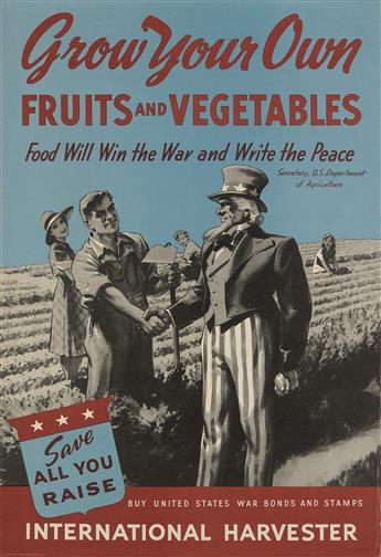 DESIGNER UNKNOWN. GROW YOUR OWN FRUITS AND VEGETABLES / INTERNATIONAL HARVESTER. 1943. 32x22 inches, 81x56 cm.