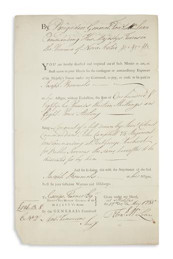 MCLEAN, FRANCIS. Partly-printed Document Signed, Fras McLean, as General,