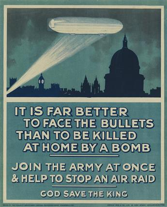 DESIGNER UNKNOWN. JOIN THE ARMY AT ONCE & HELP TO STOP AN AIR RAID. 1915. 17x14 inches, 43x35 cm. Andrew Reid & Co. Ltd., Newcastle-on-