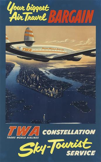 FRANK SOLTESZ (1912-1998). TWA CONSTELLATION / SKY - TOURIST SERVICE. Circa 1952. 39x25 inches, 100x63 cm.