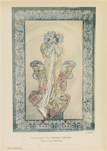 ALPHONSE MUCHA (1860-1939). LA PRINCESSE LOINTAINE / SARAH BERNHARDT. Small plate. 1900. 11x7 inches, 28x19 cm.