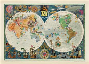 LUC MARIE BAYLE (1914-2000). TAI / TRANSPORTS AÉRIENS INTERCONTINENTAUX. Circa 1960. 22x31 inches, 56x79 cm. Hubert Baille, Paris.