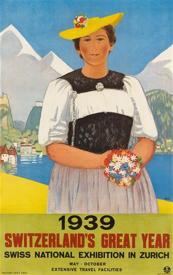 EMIL CARDINAUX (1877-1936). 1939 / SWITZERLANDS GREAT YEAR. 1939. 40x25 inches, 102x64 cm. Wolfsberg, Zurich.