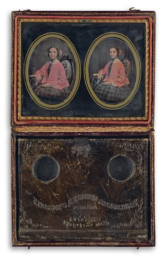(MASCHERS IMPROVED STEREOSCOPES) Group of 8 rare cases with viewing devices and daguerreian portraits, comprising 4 quarter-plate Masc