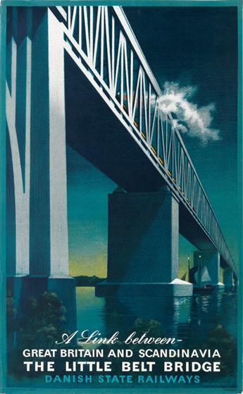AAGE RASMUSSEN (1913-1975). THE LITTLE BELT BRIDGE / DANISH STATE RAILWAYS. 1951. 39x24 inches, 99x61 cm. Andreasen & Lachmann, Copenha