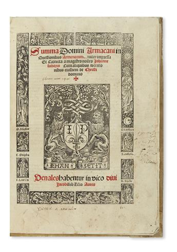 FITZRALPH, RICHARD, Archbishop of Armagh. Summa in questionibus Armenorum noviter impressa et correcta.  1512
