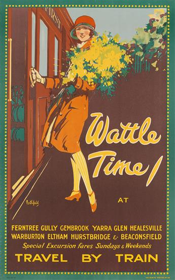 JAMES NORTHFIELD (1887-1973). WATTLE TIME / TRAVEL BY TRAIN. Circa 1925. 40x25 inches, 102x64 cm. Syd Day Ltd., Sydney.