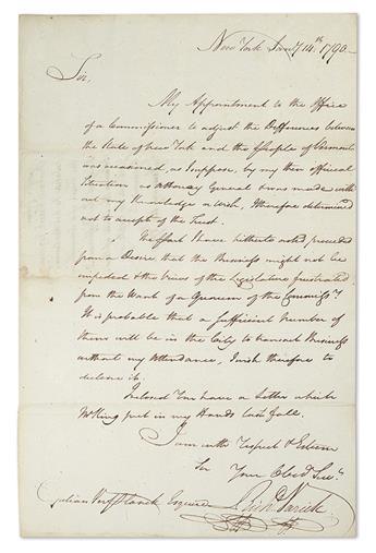 (VERMONT.) VARICK, RICHARD. Autograph Letter Signed, RichdVarick, as Mayor of New York City,