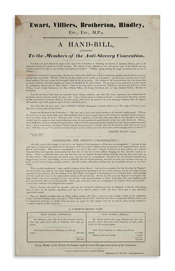 (SLAVERY AND ABOLITION.) Pease, Joseph. A Hand-Bill Addressed to the Members of the Anti-Slavery Convention.