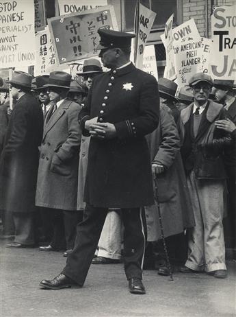 DOROTHEA LANGE (1895-1965) Street demonstration, San Francisco.