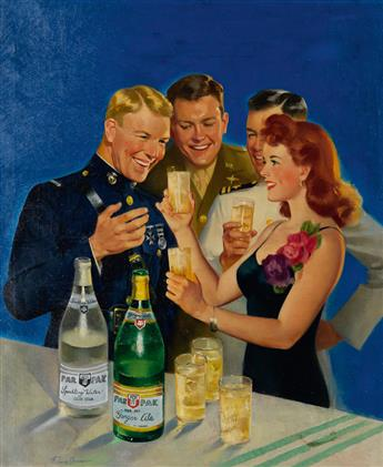 FREDERICK SANDS BRUNNER. Par-T-Pack Cola advertisement with woman and U.S. Servicemen.