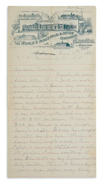 (SUFFRAGISTS.) JULIA WARD HOWE. Autograph Letter Signed, J.W.H., to My dear David, arranging for the payment...